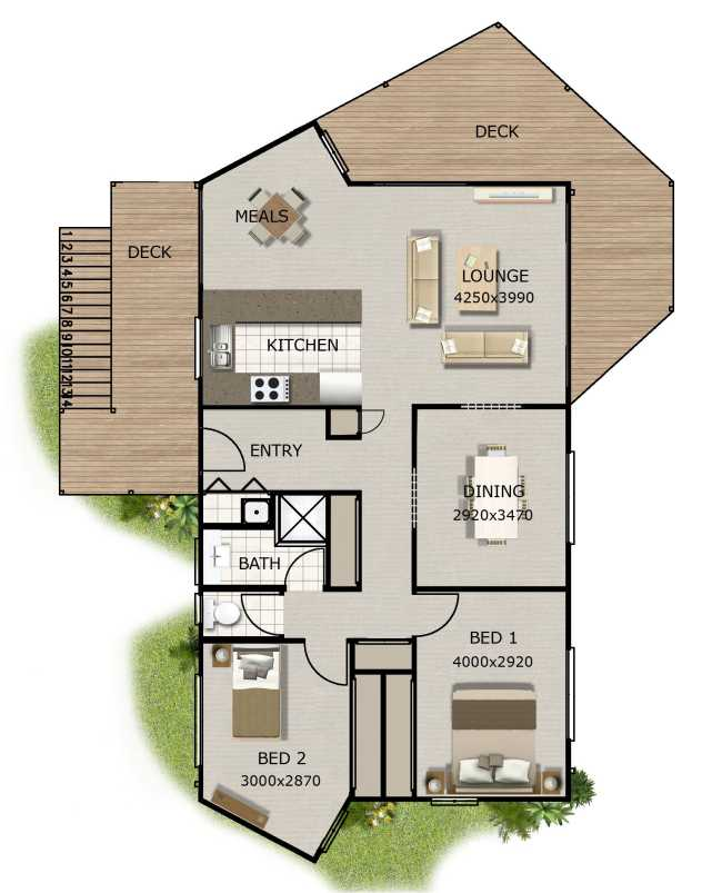 NEW DESIGN 2 Bedroom Granny Flat Australian House Floor Plans 2 Bedroom