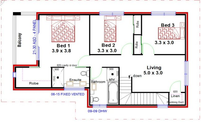 floor plan with dimension in meters. 3 bed plus study  townhouse floor plans Australian 2 Living Areas Bed Townhouse Design Narrow