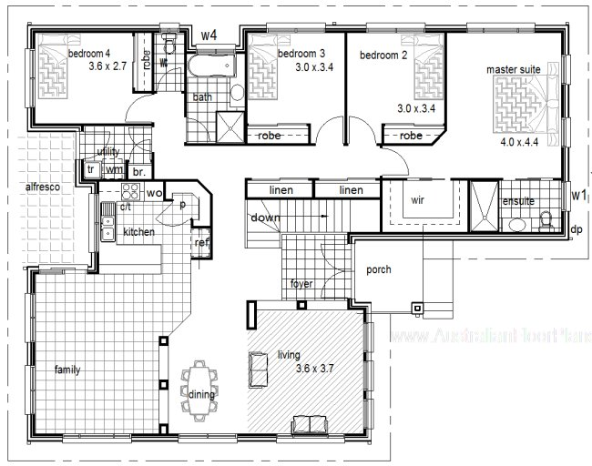 Australian plan no 222 slope 4 bedroom sloping land home with garage under - House plans with garage below ...
