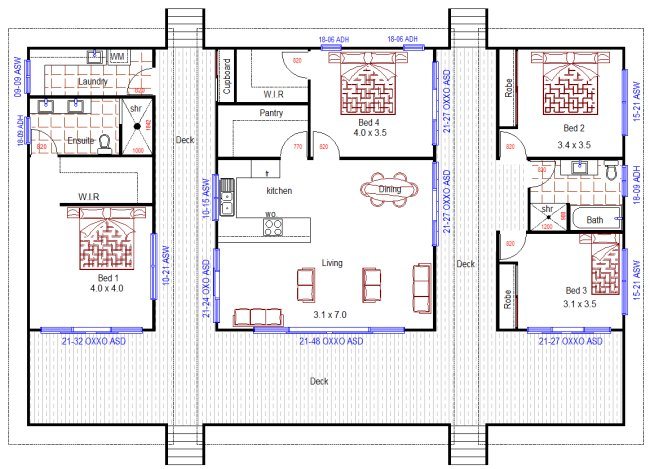 Australian house floor plans 4 bedroom home design for for House plans for sloped land