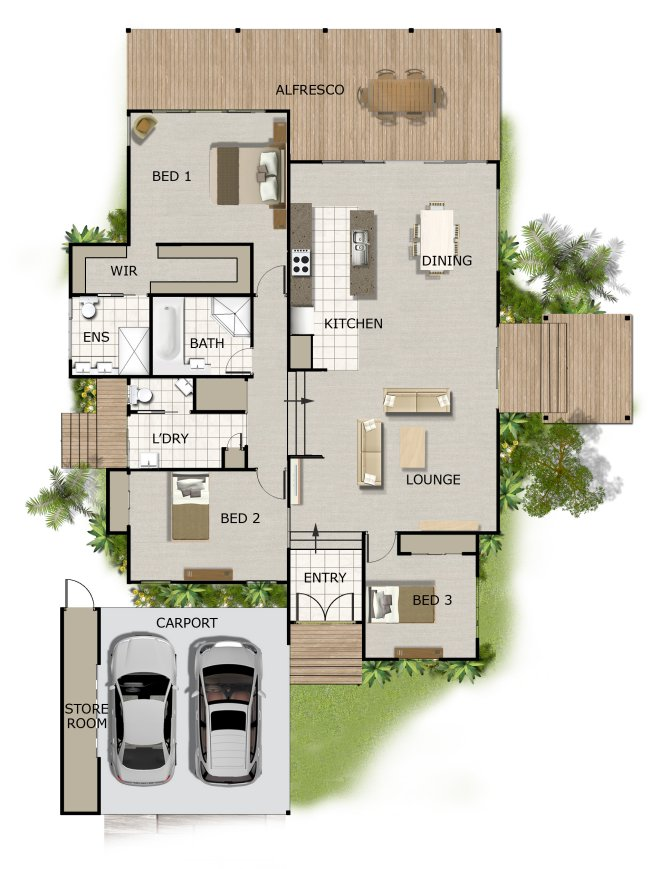 Australian 3 bedroom house floor plan 3 bed room for Acreage homes floor plans
