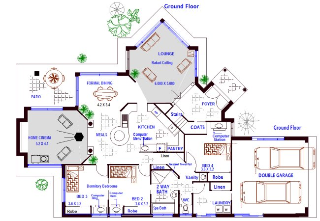 4 bedroom 2 storey house plan australian house floor for House plans australia free