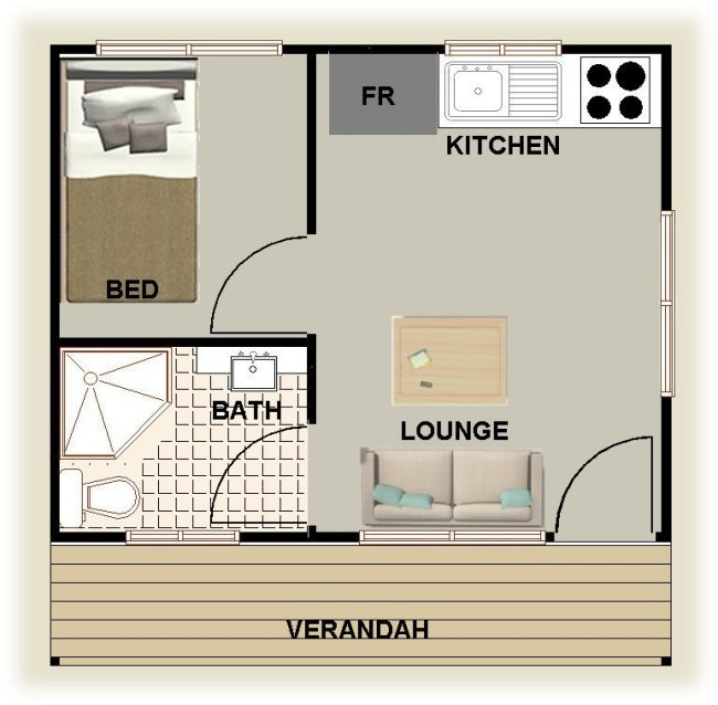 Plan no 25 cabin 1 bedroom granny flat australian home for Home designs with granny flats