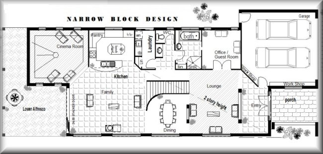 Australian narrow lot 4 bedroom guest room cinema for House plans australia free