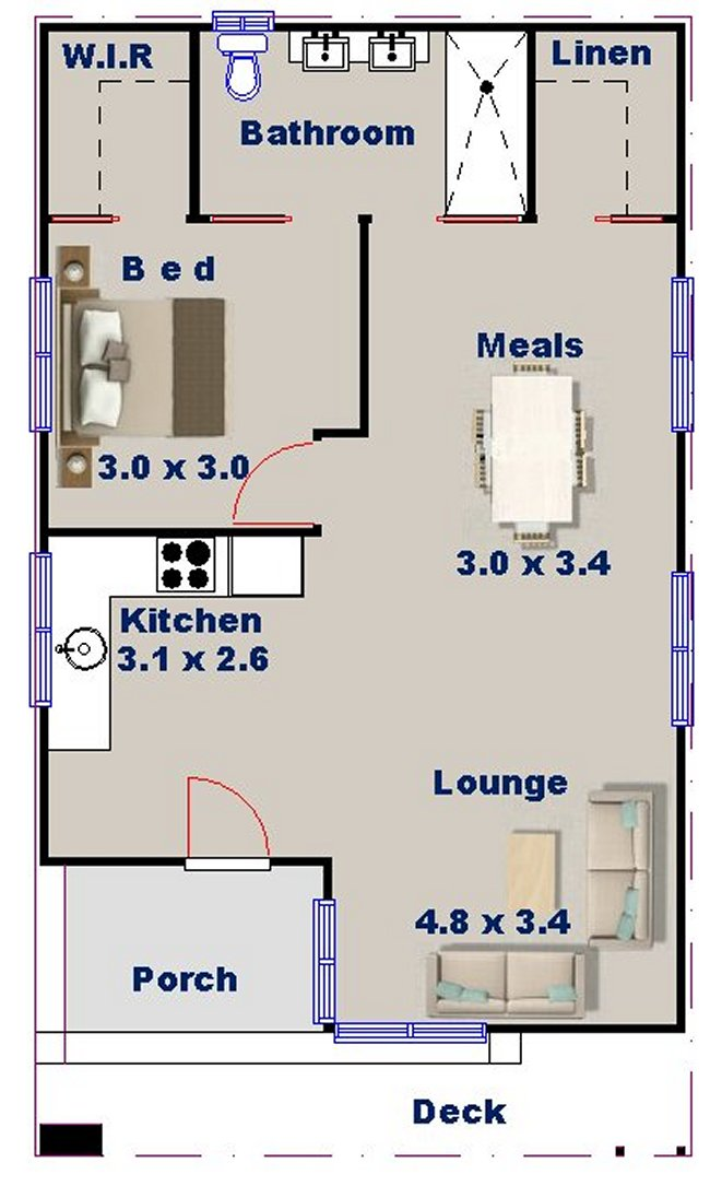 Australian plan no 57 charlotte 1 bedroom granny flat for 1 bedroom granny flat floor plans