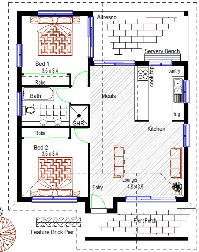 Australian Plan No 73gr 2 Bedroom Granny Flat