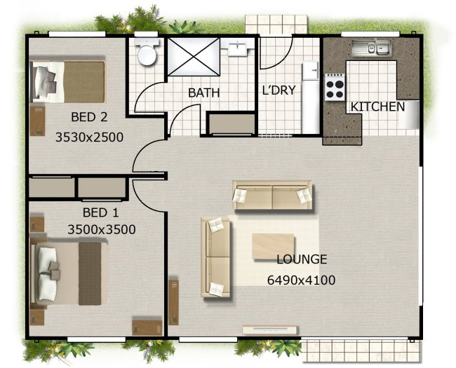 Australian House Floor plans | 2 bedroom home design on timber floorr