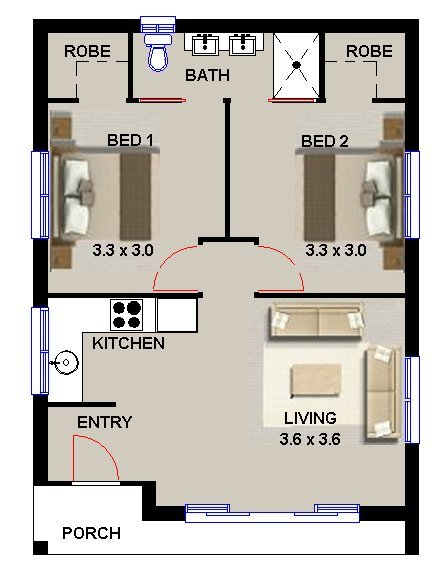 Plan no 55 elton 2 bedroom granny flat design 2 bedroom for Plan of two bedroom flat