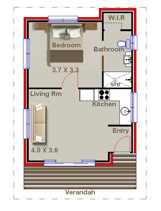 Plan no 49 nikara 1 bedroom granny flat for 1 bedroom granny flat floor plans